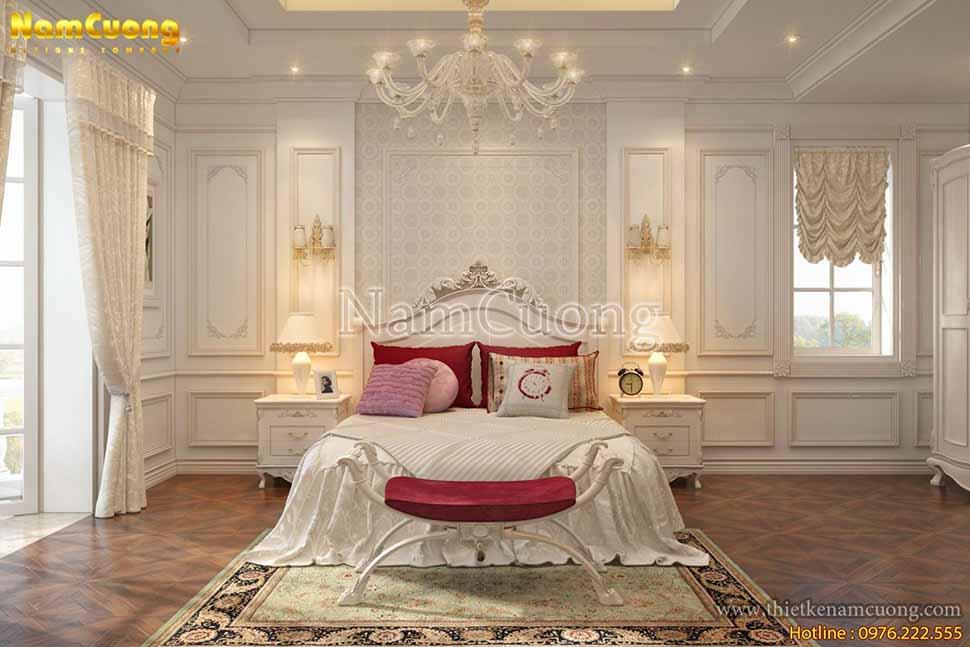 phòng ngủ con gái trong biệt thự 2 tầng