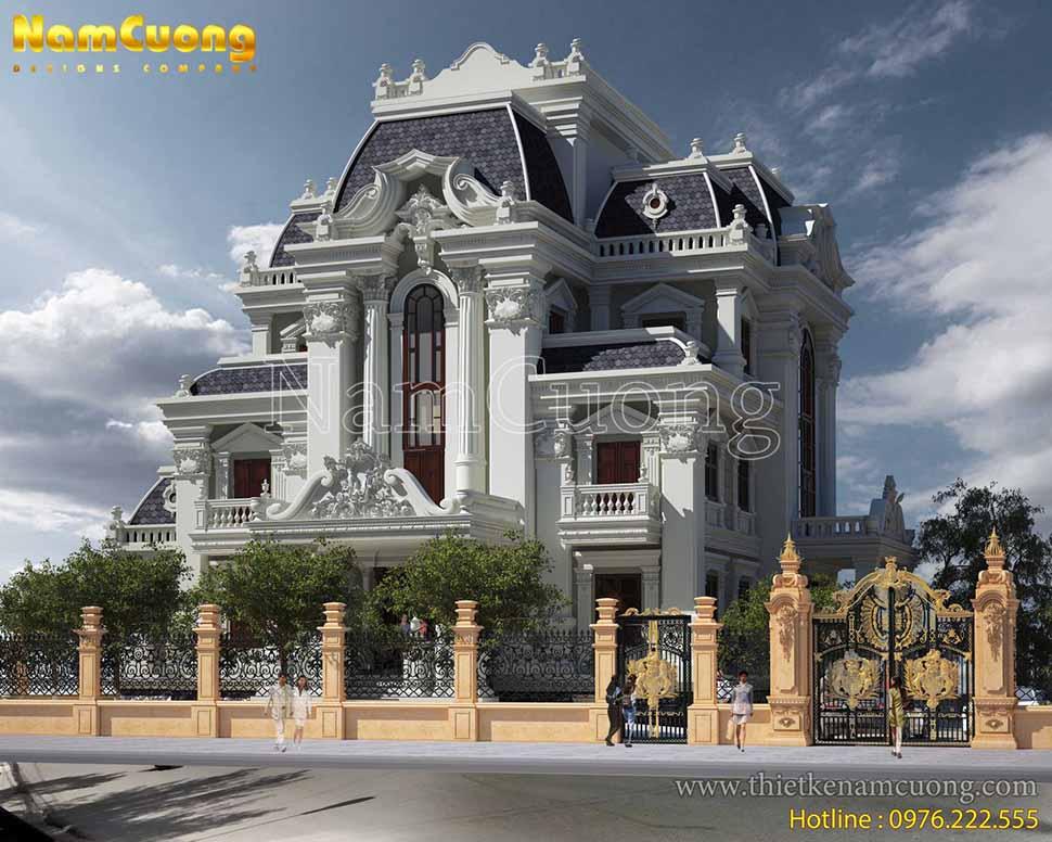 kiến trúc nhà lâu đài 3 tầng pháp