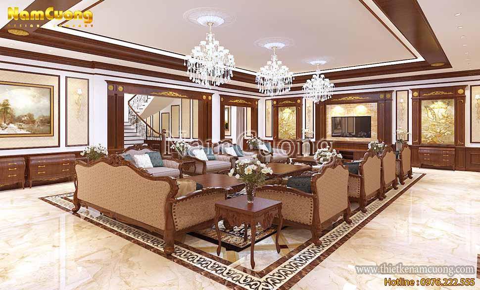 phòng khách nhà 3 tầng kiểu pháp