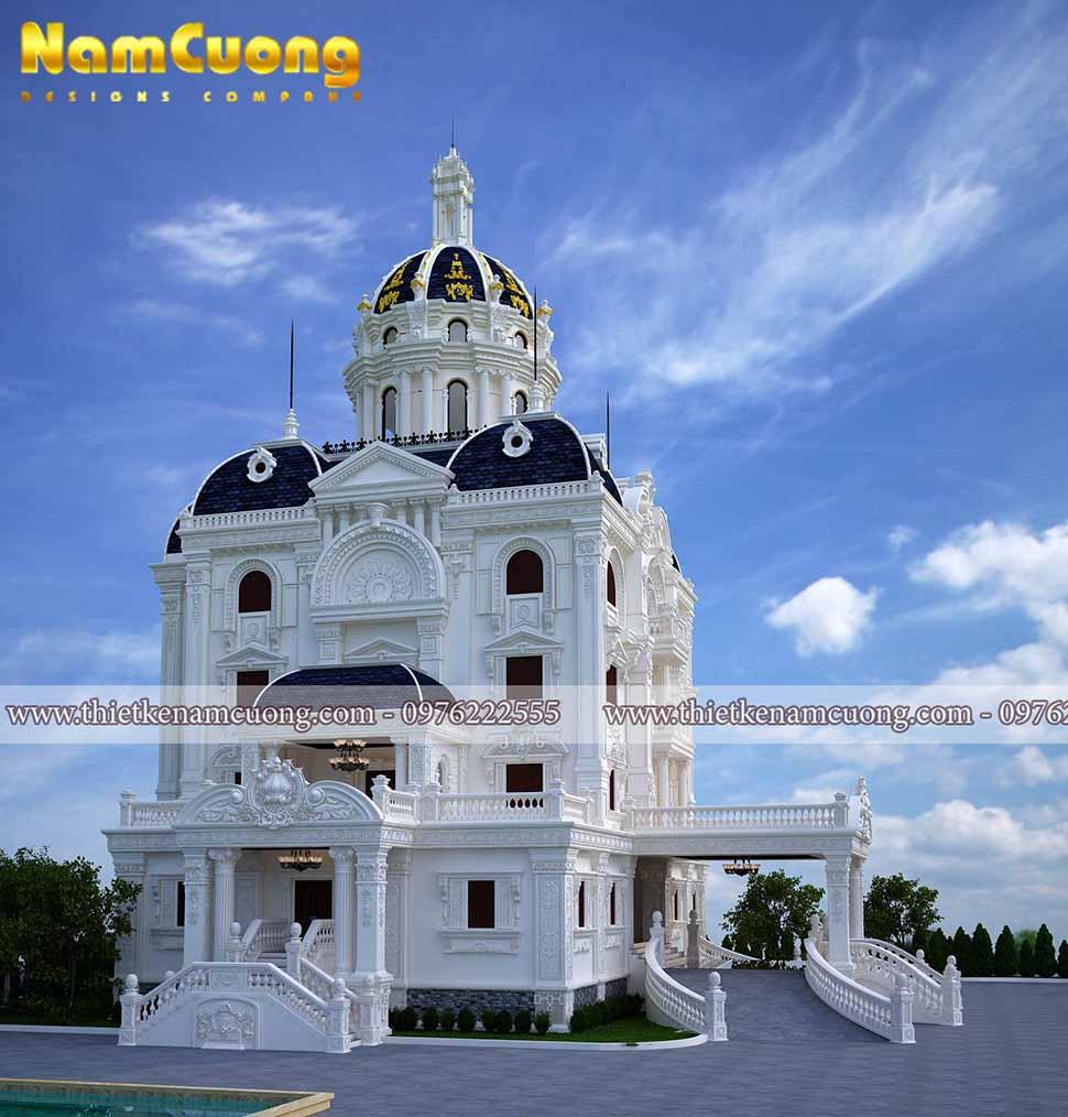 kiến trúc lâu đài 4 tầng 1 chỏm