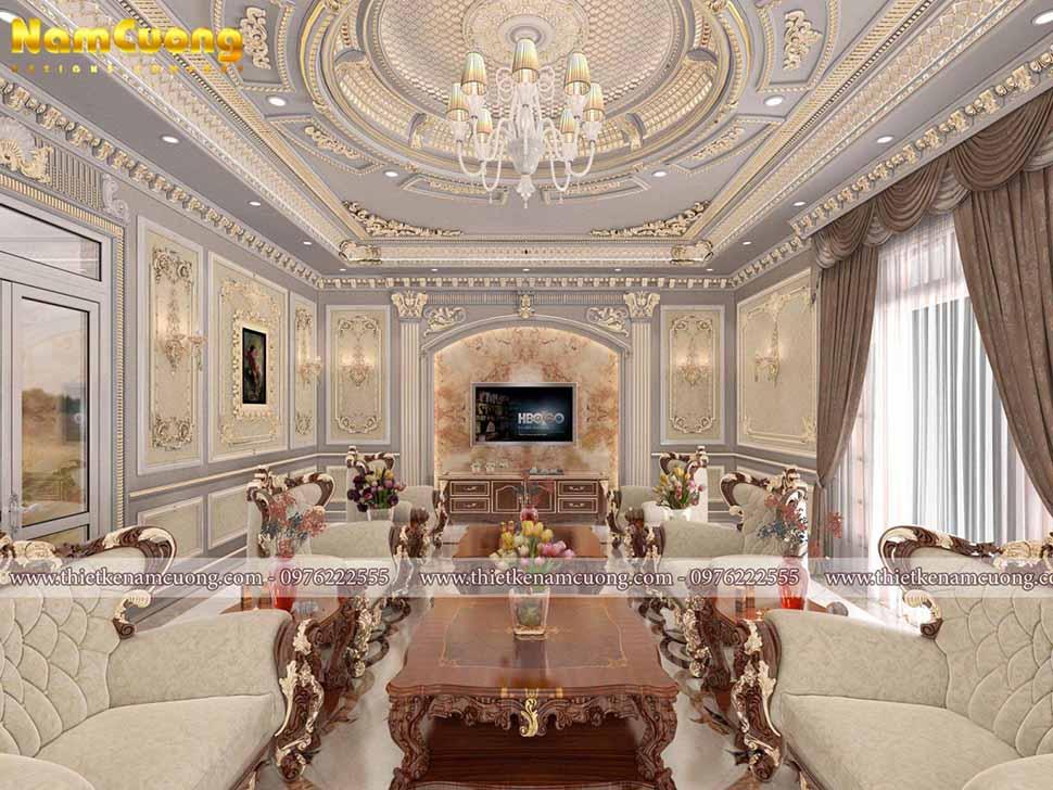 phòng khách biệt thự lâu đài 4 tầng 1 chỏm