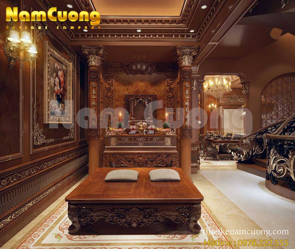 nội thất phòng thờ biệt thự lâu đài