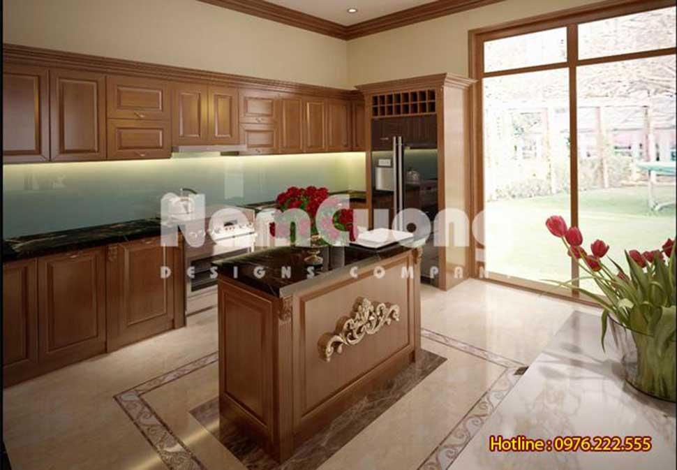 không gian mở phòng bếp ăn