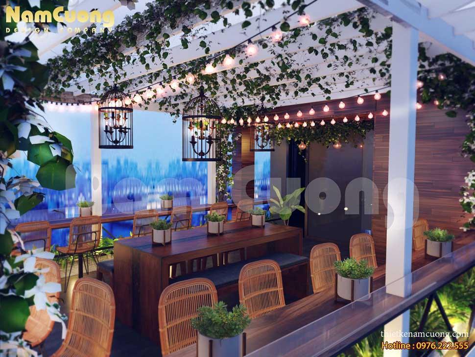 thiết kế nội thất quán cafe sân thượng