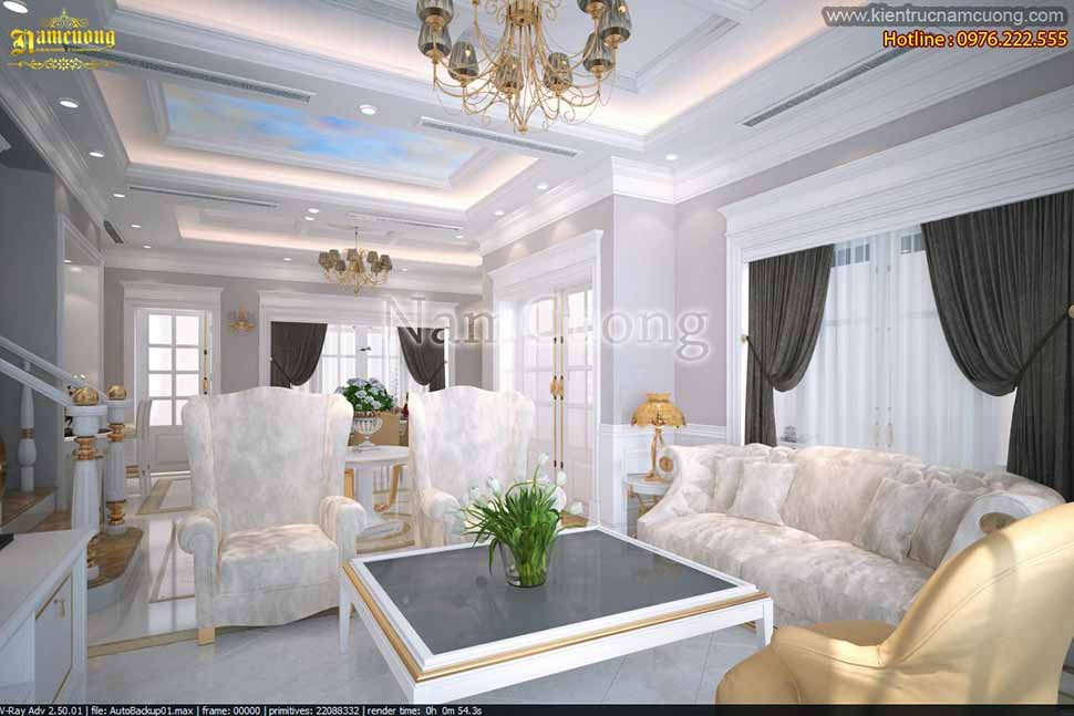 nội thất phòng khách nhà 3 tầng