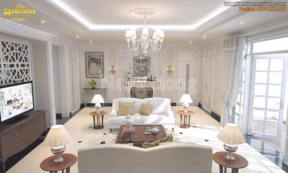 Cả không gian nội thất phòng khách toát lên sự thanh thoát, cân đối