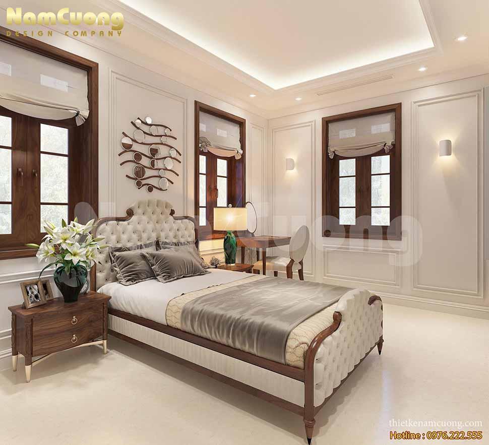 Thiết kế nội thất phòng ngủ 1 biệt thự tân cổ điển kiểu Pháp