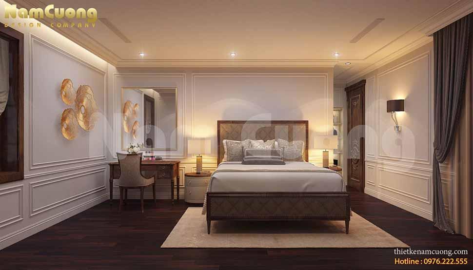 Nội thất phòng ngủ 5 được thiết kế đơn giản nhưng vẫn đầy đủ đồ đạc và toát lên sự tiện nghi