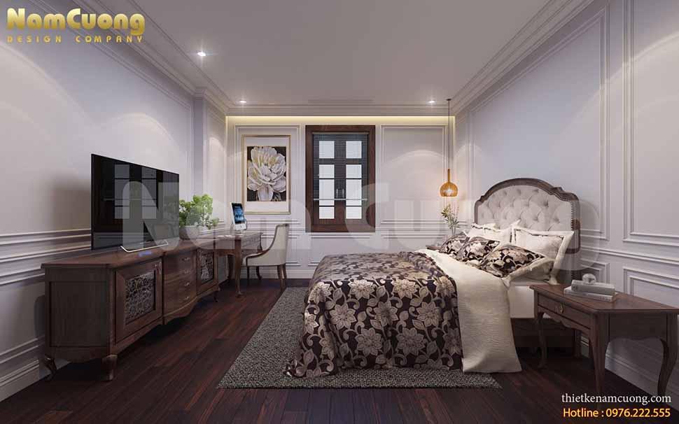 Thiết kế nội thất phòng ngủ ngủ 4 biệt thự tân cổ điển kiểu Pháp