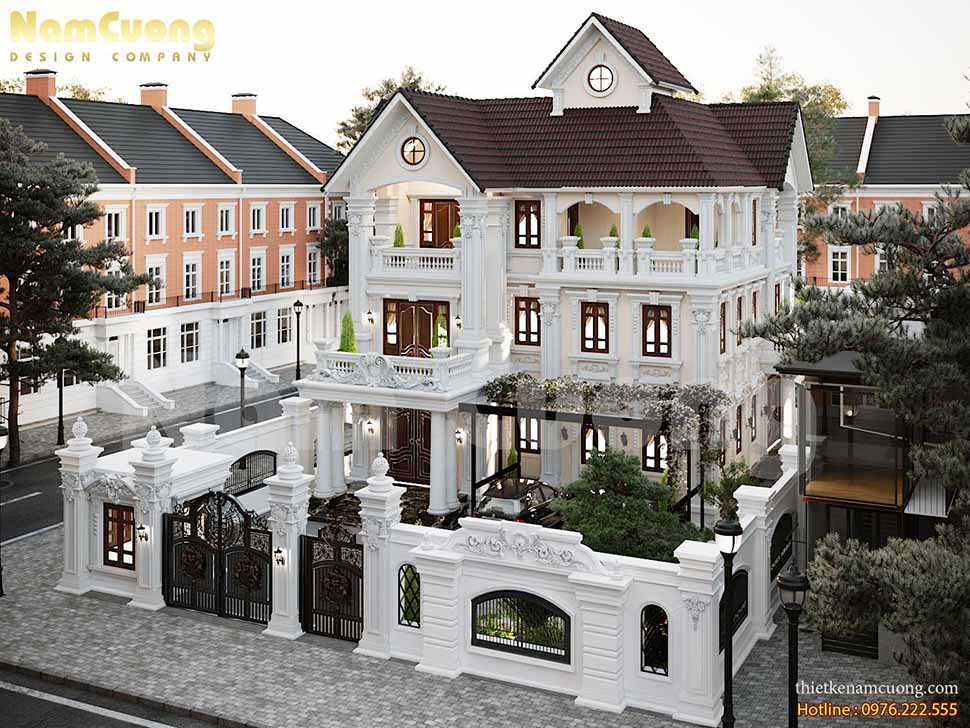 Kiến trúc biệt thự 200m2 tân cổ điển kiểu Pháp tại Phú Thọ