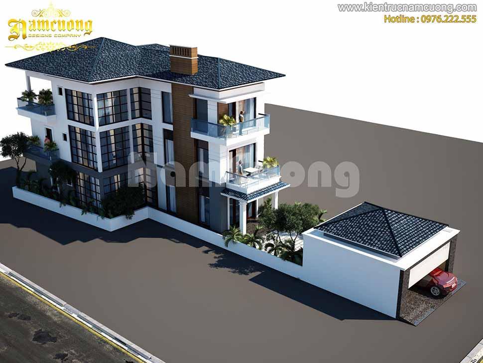 Mẫu thiết kế biệt thự hiện đại 3 tầng 120m2 ấn tượng