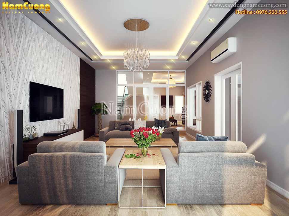 Phòng khách thiết kế các mảng màu sắc và kiểu dáng nội thất theo phong cách tối giản mà sang trọng