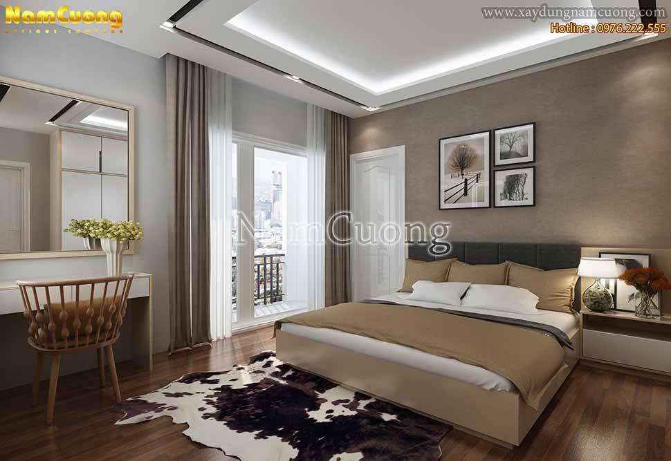 Phòng ngủ hiện đại sử dụng màu sắc nhẹ nhàng, không gian thông thoáng ánh sáng và không khí nhờ các khung cửa sổ kính trong suốt