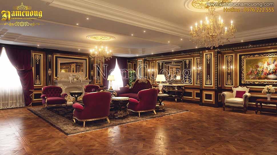 nội thất phòng khách biệt thự lâu đài