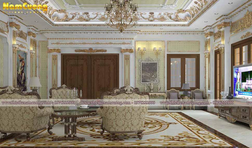 phòng khách biệt thự lâu đài pháp tân cổ điển