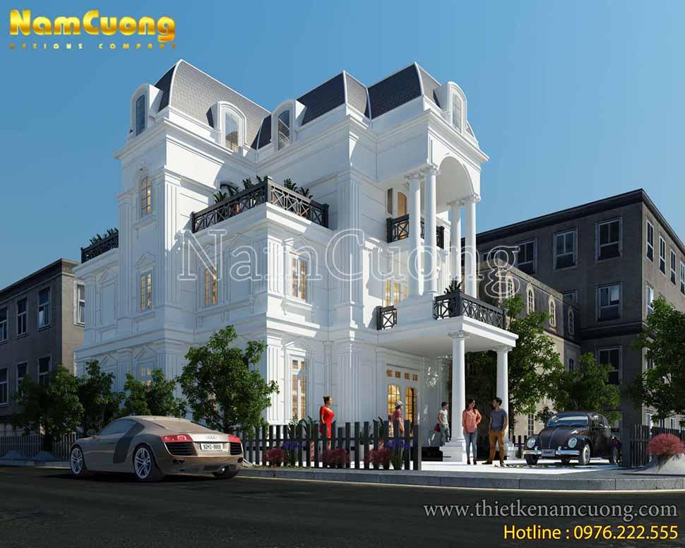 Mẫu thiết kế biệt thự màu trắng tân cổ điển 3 tầng ấn tượng