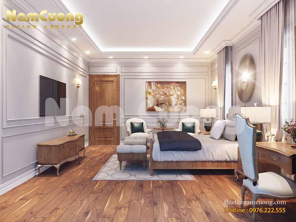 Phòng ngủ 5 sang trọng của công trình biệt thự tại Vinhomes