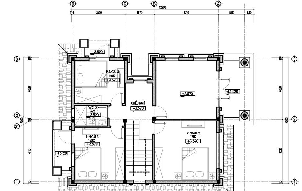 thiết kế mặt bằng tầng 2