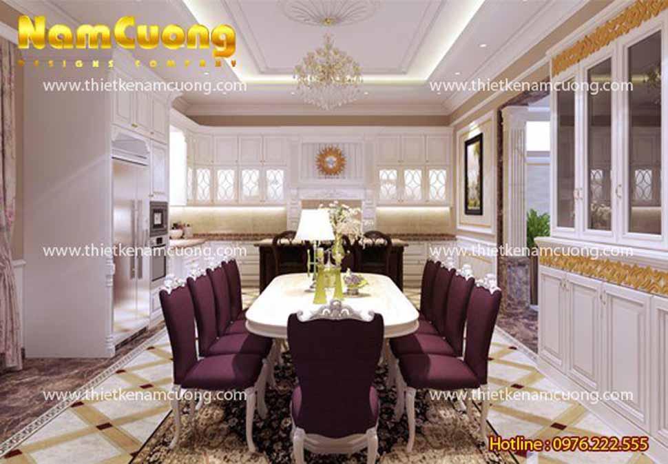 Căn phòng bếp đầy đủ tiện nghi và bàn ăn kiểu dáng quý phái