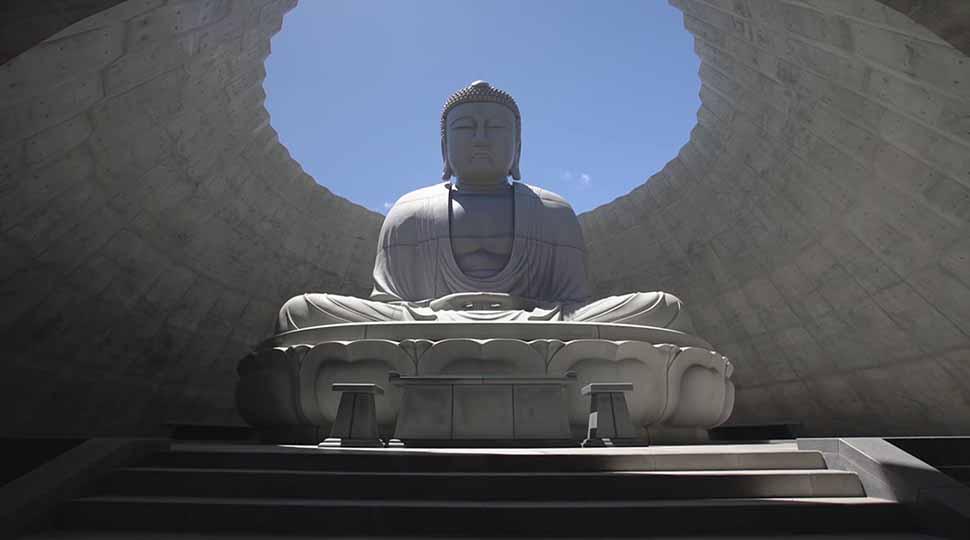 """""""Đức Phật khổng lồ"""" ngồi trong trung tâm ngọn đồi hoa oải hương tại Nhật"""