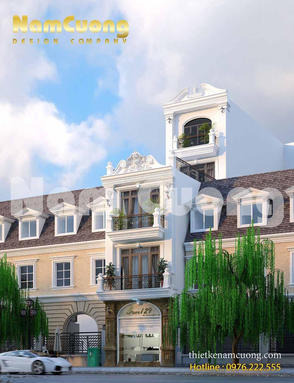 Thiết kế kiến trúc khách sạn tân cổ điển 5 tầng