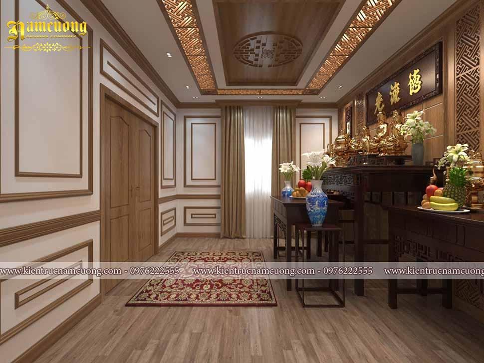 Phòng thờ được gia chủ rất chú trọng, thiết kế có phần hiện địa pha với nội thất gỗ cổ điển giúp căn phòng hài hòa, mang vẻ tĩnh mịch