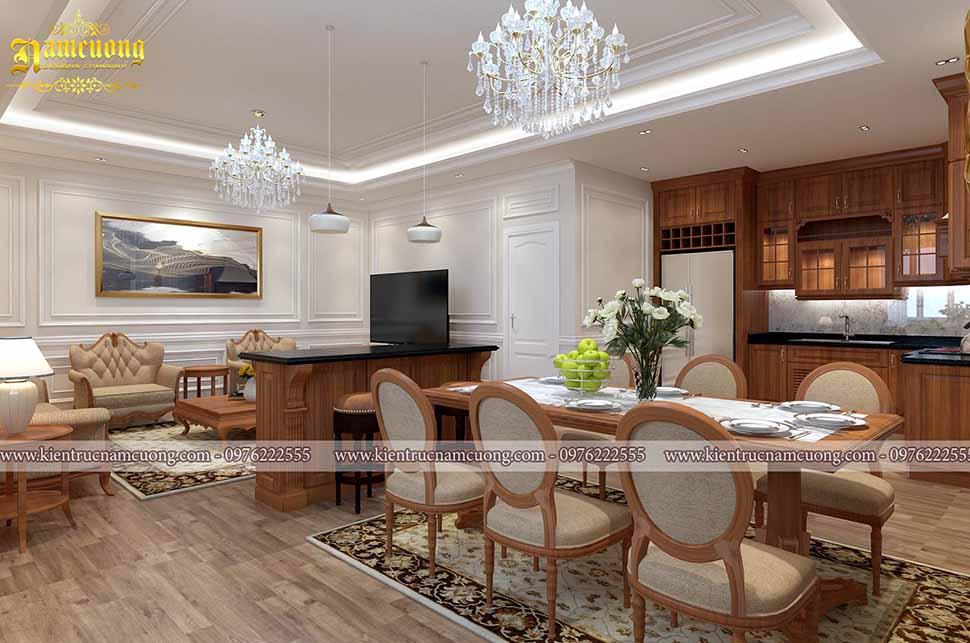 Phòng bếp nằm ngay cạnh phòng khác, được ngăn cách khéo léo bởi tủ ti vi rất tiện lợi