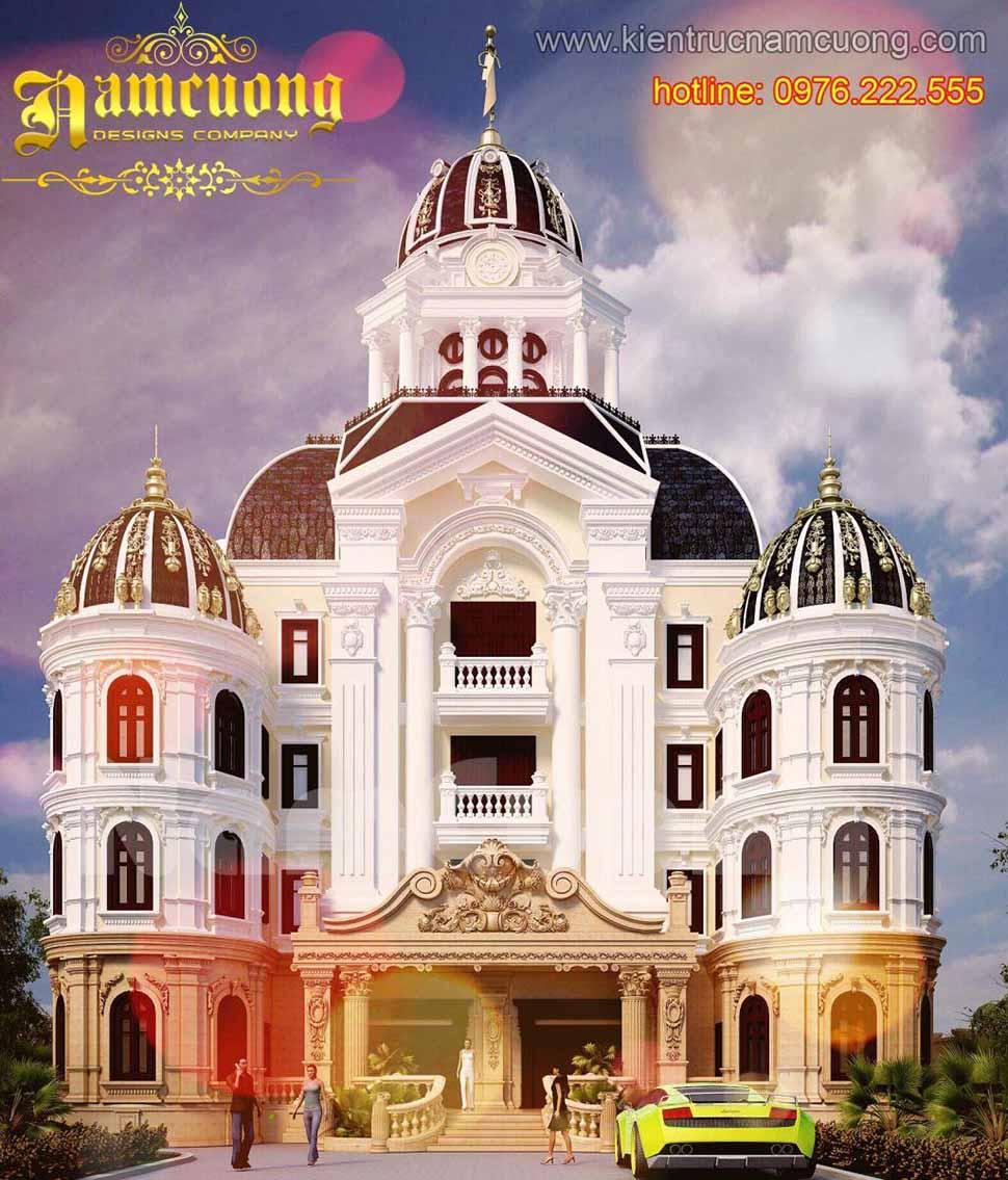 Mẫu thiết kế biệt thự lâu đài cổ điển 1000m2 mang đến sự uy nghi, đẳng cấp và tráng lệ.