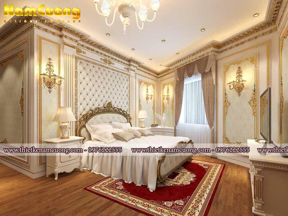 Giường ngủ thiết kế cầu kì, quý phái đặt tại vị trí trung tâm