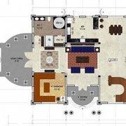 mặt bằng biệt thự 3 tầng