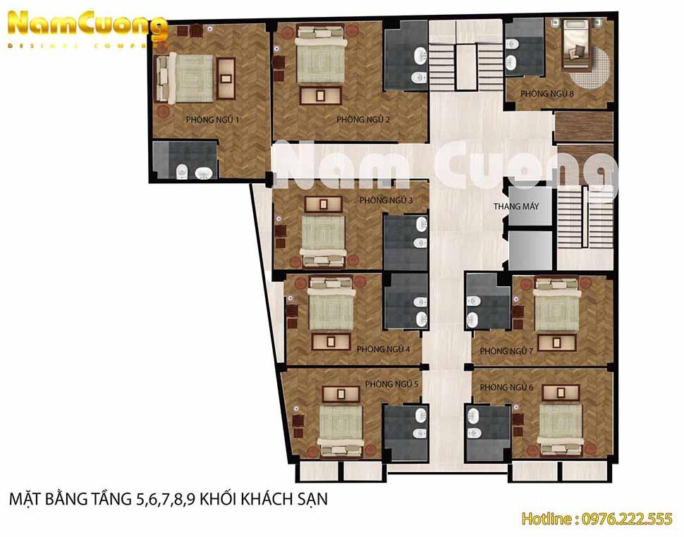Tầng 5+6+7+8+9: 8 phòng nghỉ khách sạn + wc + hành lang + thang máy + cầu thang thoát hiểm