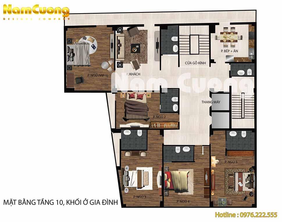 Tầng 3 + 4: Khu văn phòng cho thuê + nhà kho + phòng wc+ thang máy + cầu thang thoát hiểm