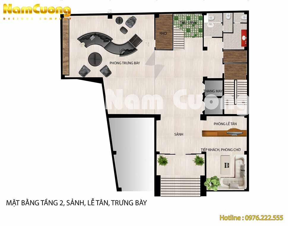 Tầng 2: Khu trưng bày sản phẩm + tiền sảnh + sảnh + lễ tân + Phòng chờ, tiếp khách + nhà kho + phòng wc + thang máy + cầu thang thoát hiểm