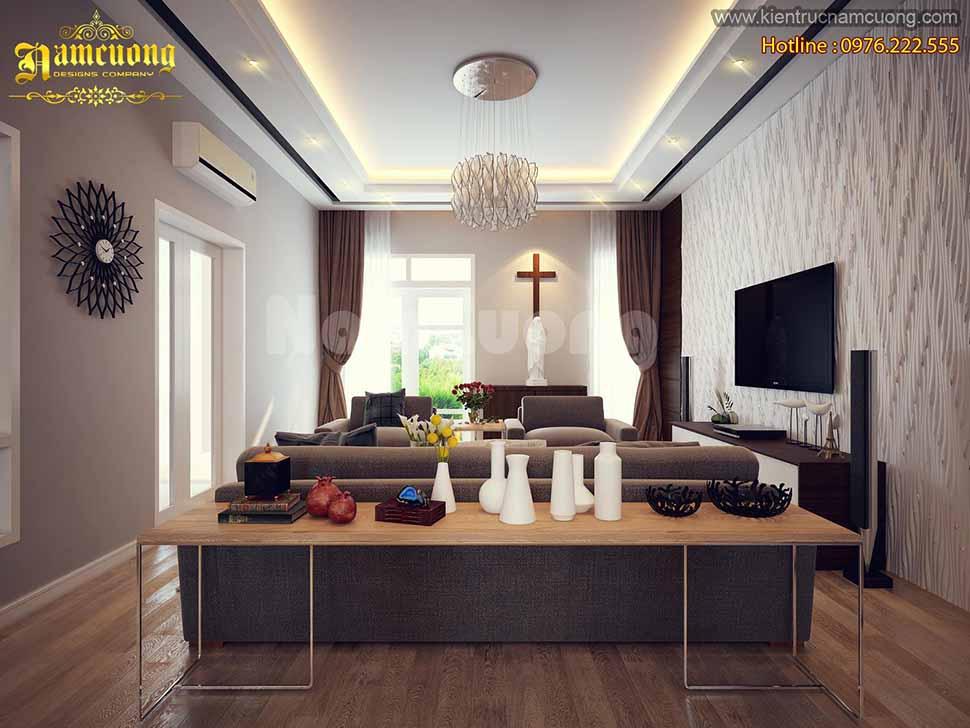 Phòng khách bài trí chuẩn theo phong cách nội thất hiện đại. Đơn giản, tiện nghi và không chú trọng chi tiết
