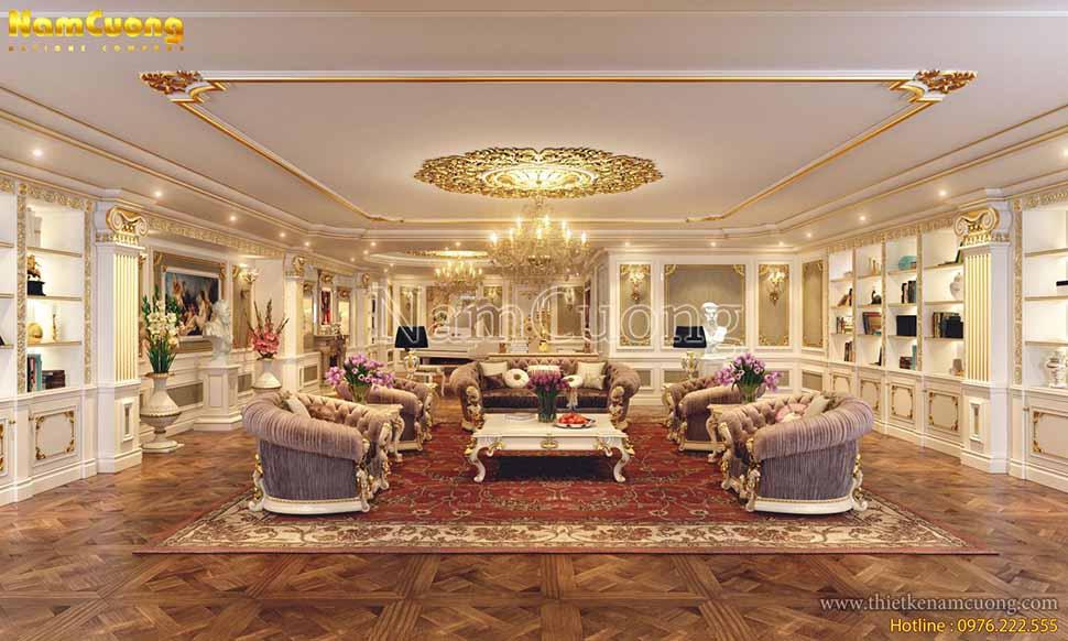 Căn phòng khách vô cùng sang trọng với bộ sô fa kiểu dáng lịch lãm nổi bật giữa không gian căn phòng