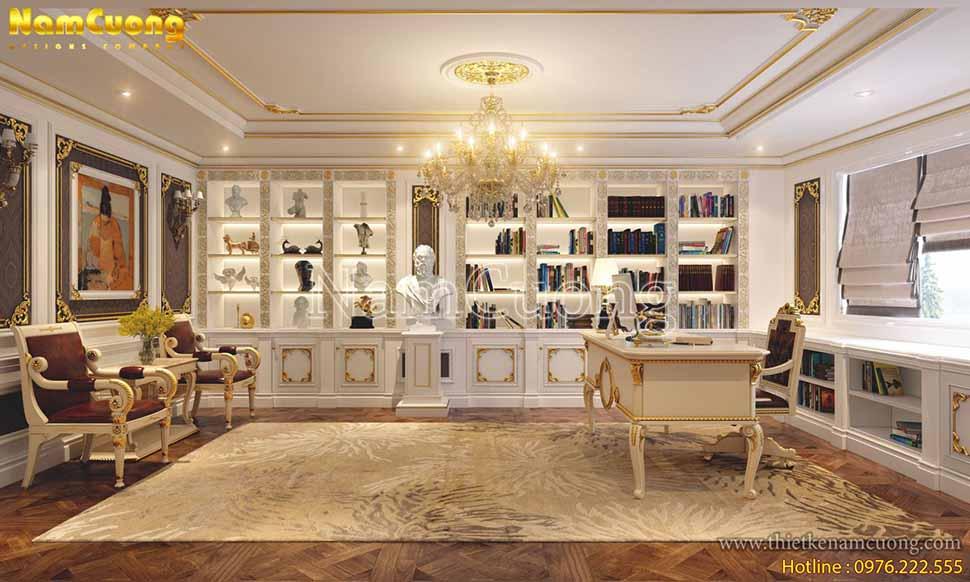 Phòng làm việc của chủ nhân căn nhà cùng không kém phần sang trọng so với phòng khách