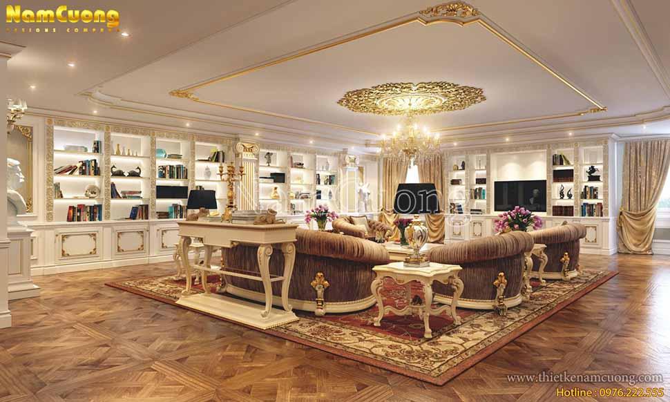 Diện tích căn phòng lớn nên được thiết kế nhiều đồ nội thất trang trí đẹp mắt.