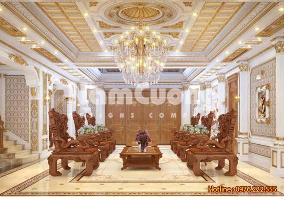 Mẫu nội thất phòng khách kiểu Pháp sang trọng