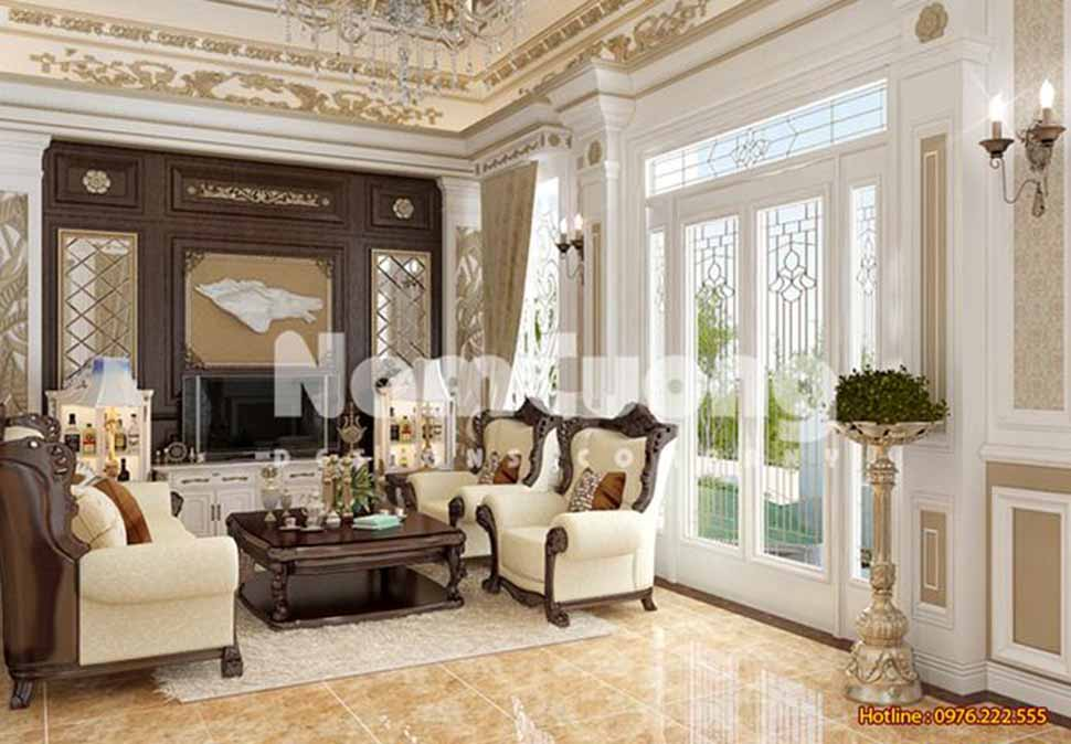 Mẫu phòng khách 30m phong cách tân cổ điển