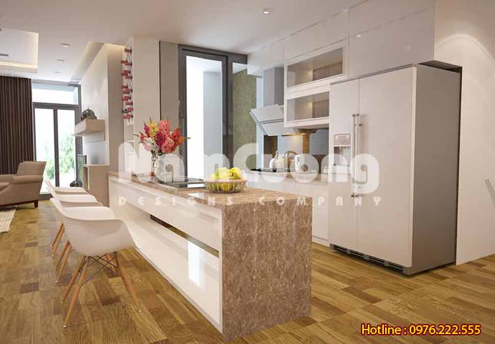 mẫu phòng khách kết hợp bếp