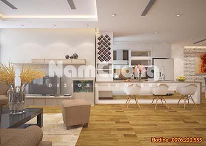 Mẫu thiết kế nội thất phòng khách kếp hợp bếp