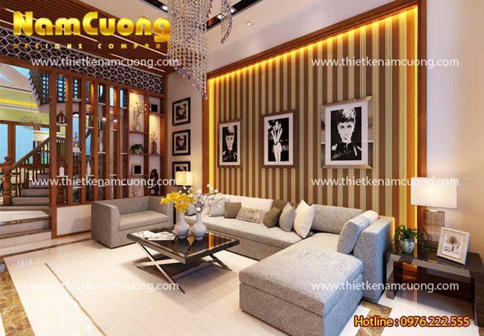 Mẫu thiết kế nội thất phòng khách hiện đại độc đáo tại Hải Phòng