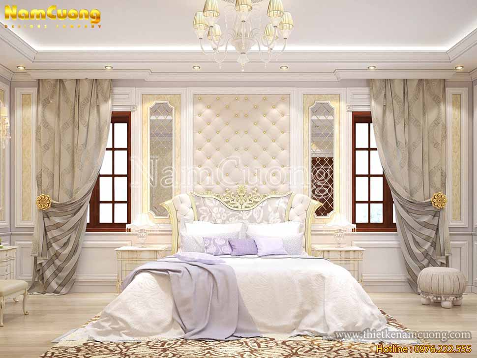 Phòng ngủ màu trắng điểm chút gam tím lãng mạn trong mẫu nội thất biệt thự Pháp cổ
