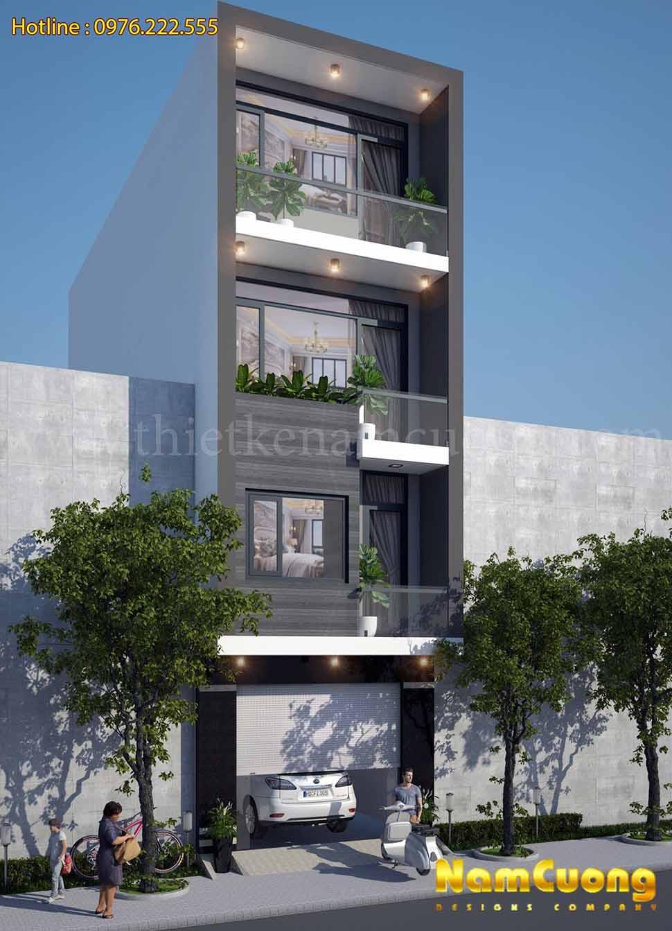 mẫu nhfa phố 4 tầng mặt tiền 4m