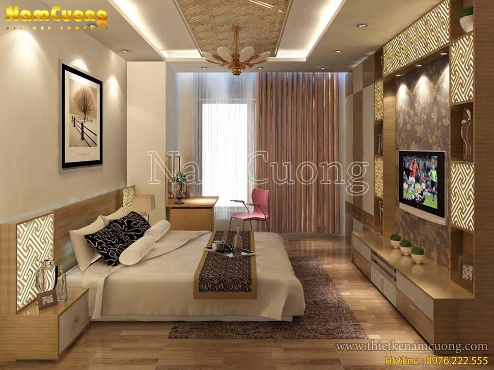 Phòng ngủ nhẹ nhàng, ấm áp trong thiết kế nhà phố 3 tầng mái thái