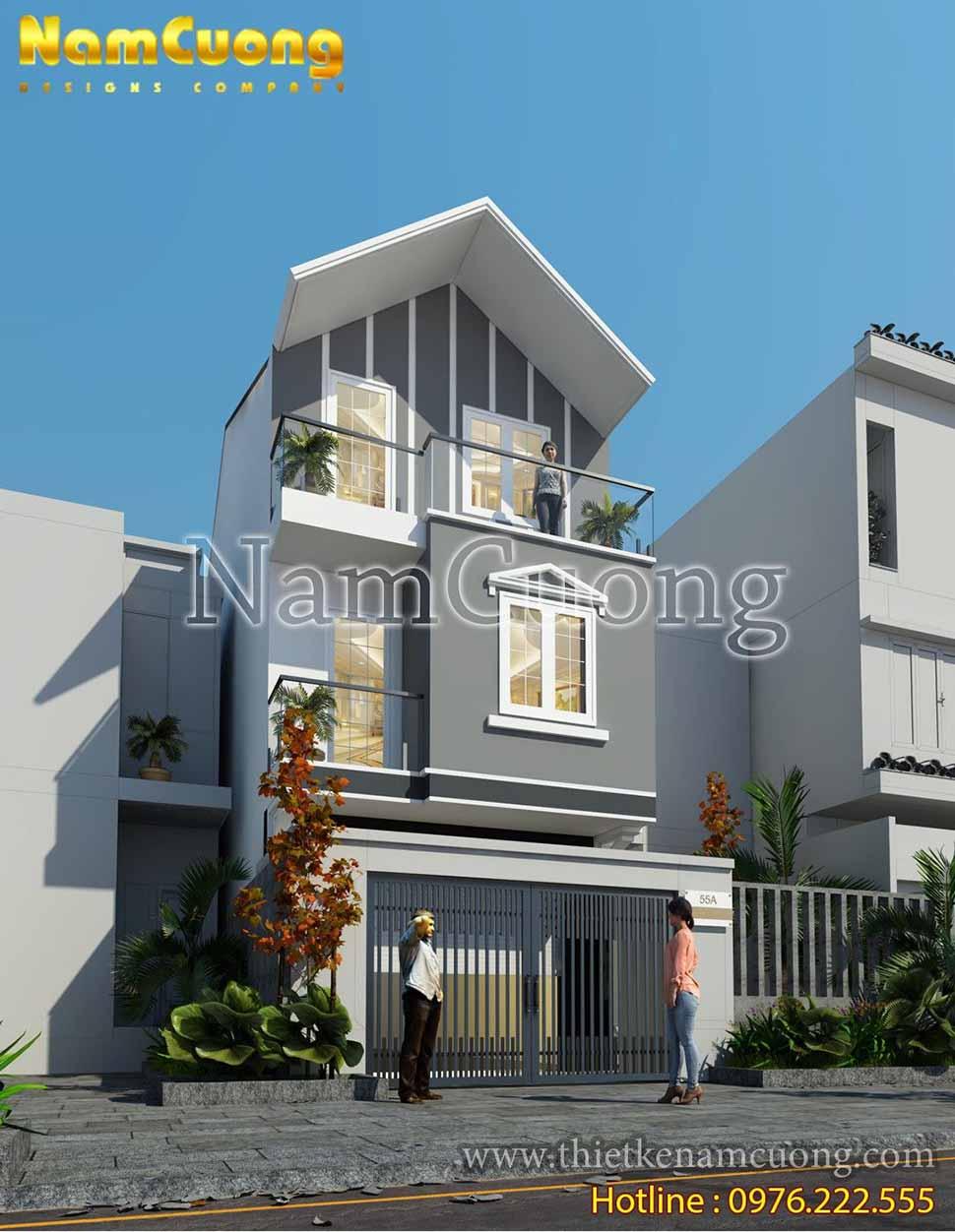 Mái chữ A tạo dáng dấp cho ngôi nhà bớt vẻ thô cứng trong mẫu nhà phố 3 tầng mái thái