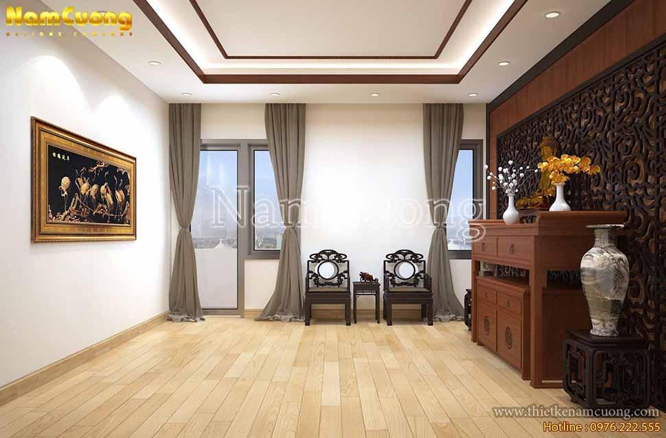 Không gian phòng thờ trang nghiêm được thiết kế rất đơn giản nhưng đậm vẻ đẹp truyền thống