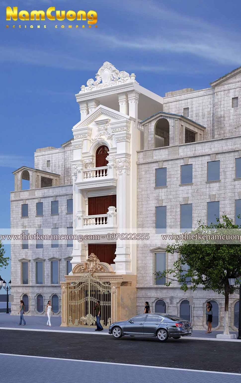 mẫu nhà phố tân cổ điển 5 tầng