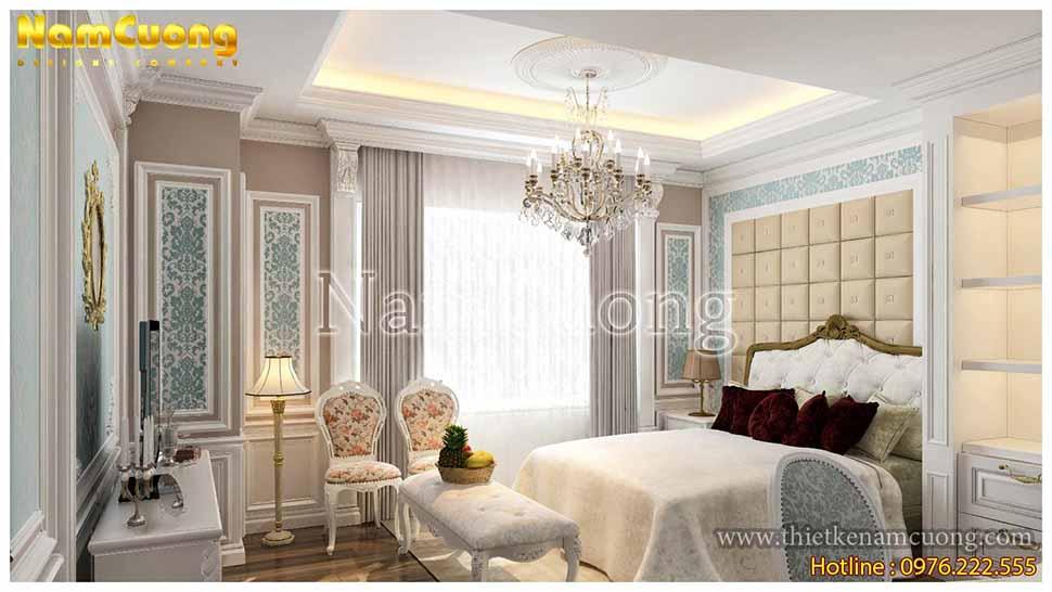 Phòng ngủ lãng mạn với những gam màu pastel nhẹ nhàng, trang nhã trong mẫu nhà phố mái bằng