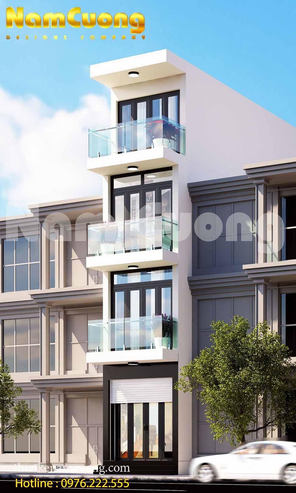 Kiến trúc nhà phố mặt tiền 3m tại Hải Phòng